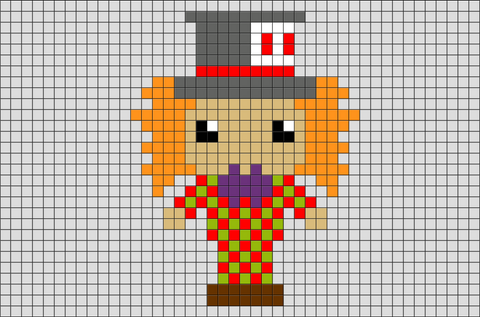 Alice in Wonderland Hatter Pixel Art