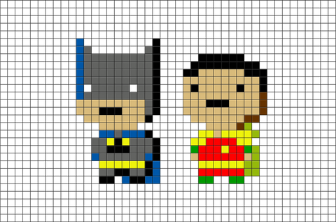 Batman and Robin Pixel Art