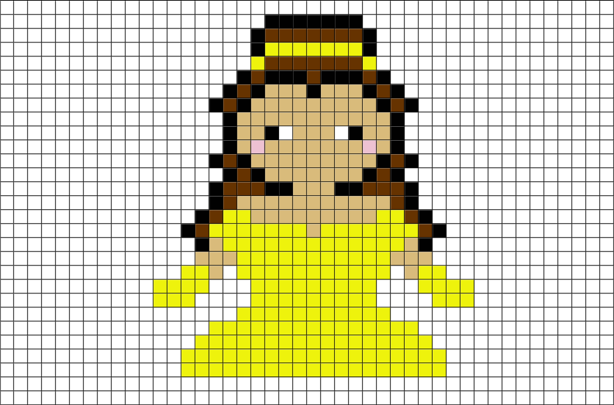 Beauty And The Beast Belle Pixel Art Brik