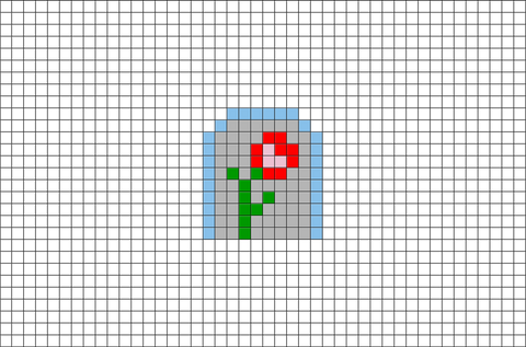 Beauty and the Beast Enchanted Rose Pixel Art