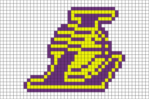 Los Angeles Lakers Pixel Art Brik