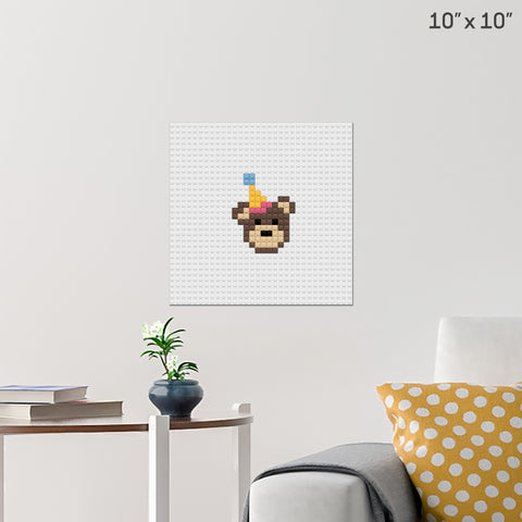 Birthday Bear Brick Poster