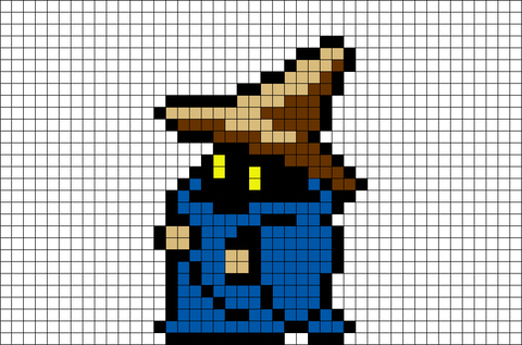 Black Mage Final Fantasy Wizard Pixel Art
