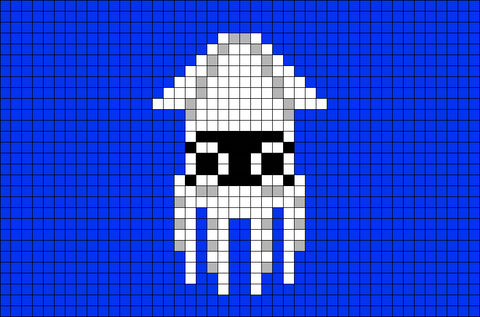 Blooper Squid Super Mario Pixel Art