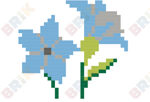 Blue Flower Pixel Art