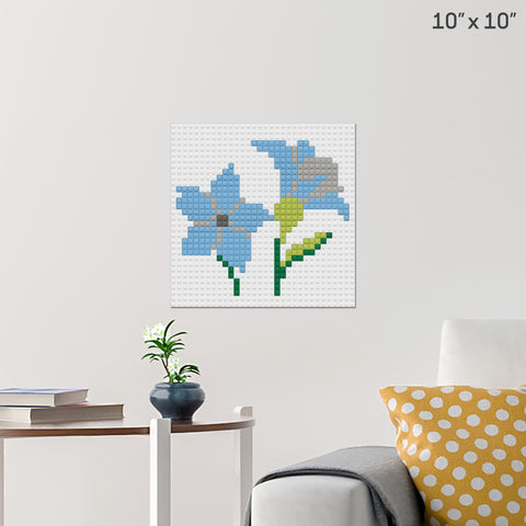 Blue Flower Brick Poster
