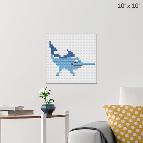 Blue Marlin Brick Poster
