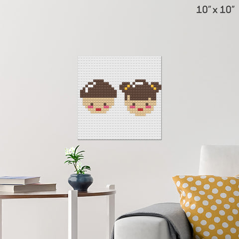 Boy and Girl Brick Poster