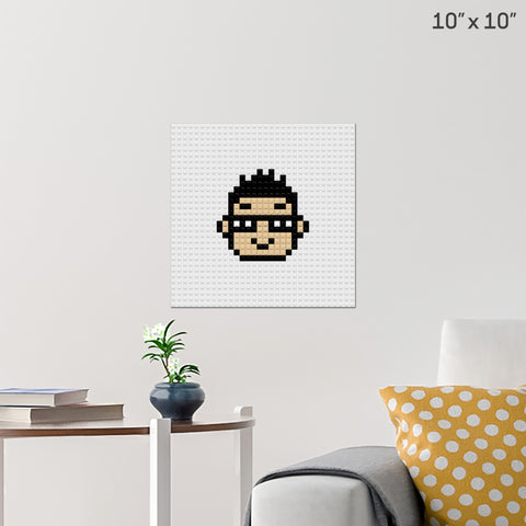 Boy with Glasses Brick Poster