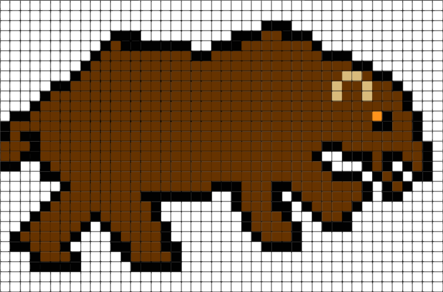 Brown Bear Pixel Art Brik