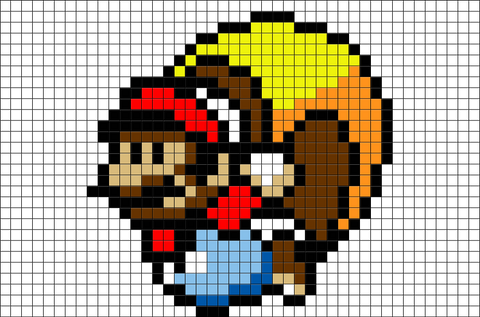 Caped Mario Pixel Art