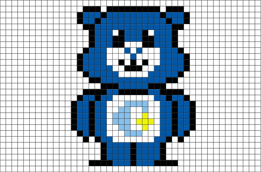 Care Bear Bedtime Bear Pixel Art Brik
