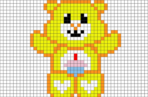 Care Bear Birthday Bear Pixel Art