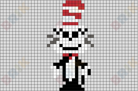 Cat in The Hat Pixel Art