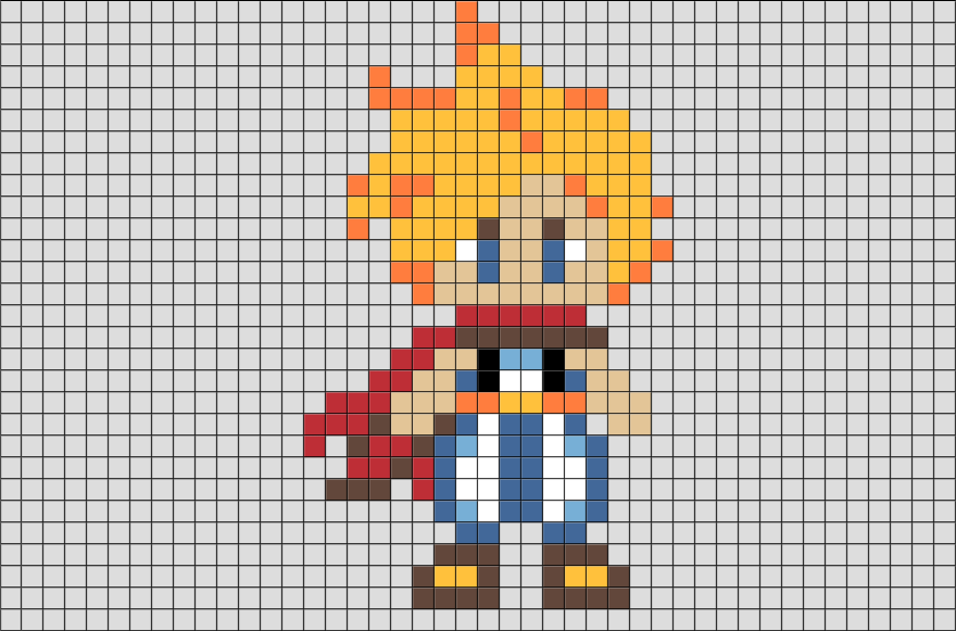 Final Fantasy Cloud Strife Pixel Art Brik