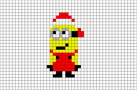Christmas Minion Pixel Art