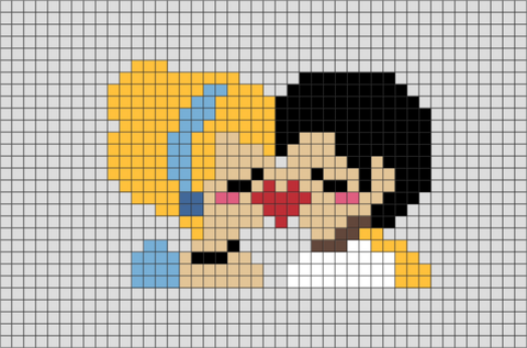 Cinderella and the Prince Pixel Art