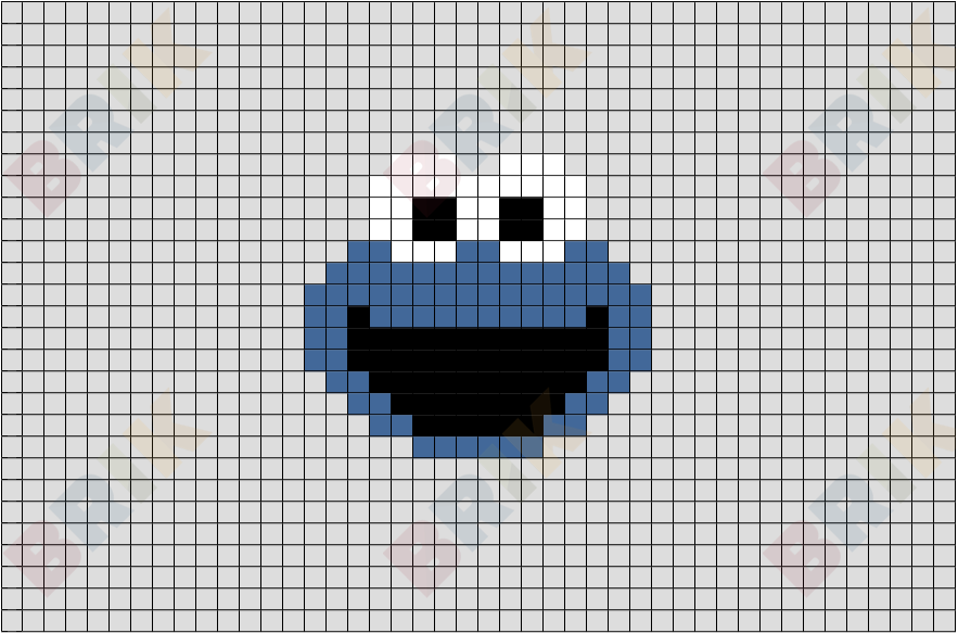 Cookie Monster Pixel Art Brik
