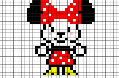cute minnie mouse pixel art brik. Black Bedroom Furniture Sets. Home Design Ideas