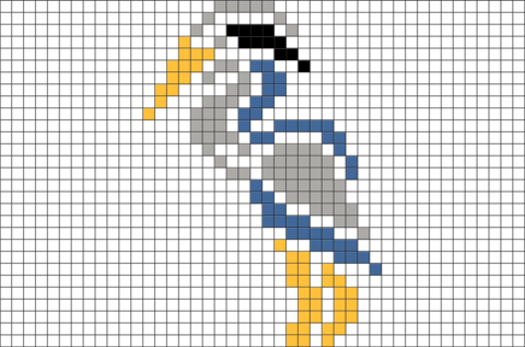 Great Blue Heron Pixel Art