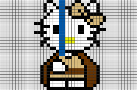 Hello Kitty Jedi Pixel Art