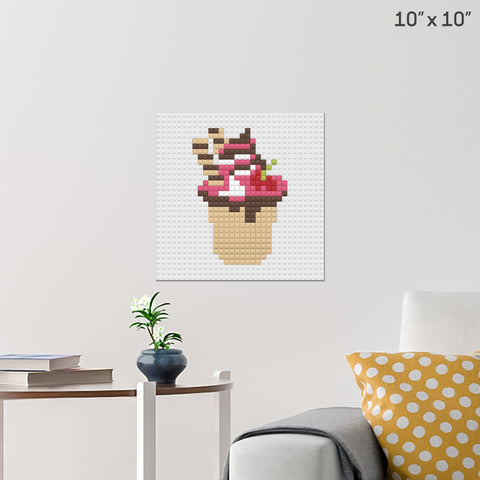 Eat Ice Cream for Breakfast Day Brick Poster