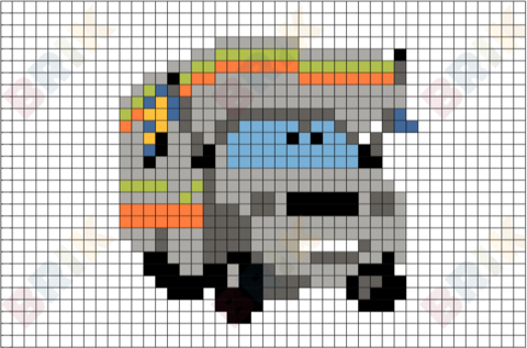Motorhome Race Fan Pixel Art