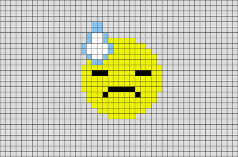 Face With Cold Sweat  Emoji Pixel Art