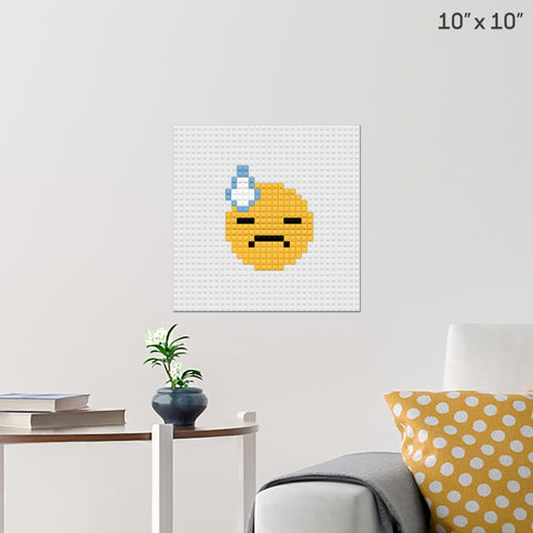 Face With Cold Sweat  Emoji Brick Poster