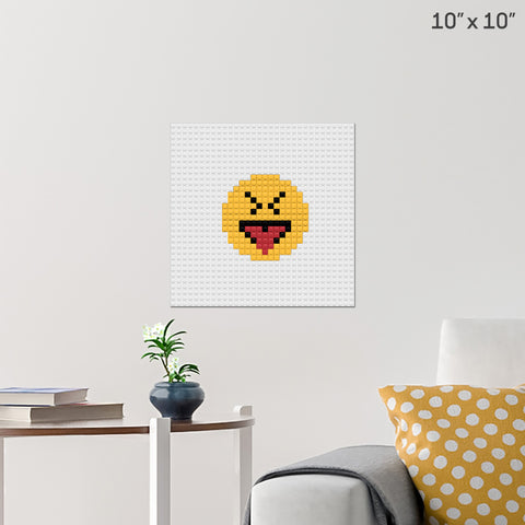 Face With Stuck-Out Tongue and Tightly-Closed Eyes  Emoji Brick Poster