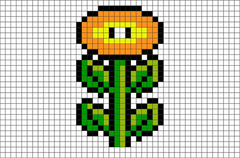 Fire Flower Mario Pixel Art