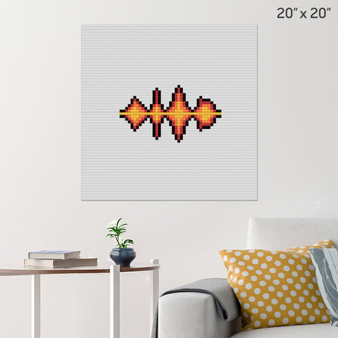 Fire Sound Waves Brick Poster