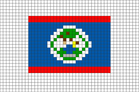 Flag of Belize Pixel Art