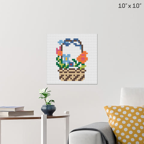 Flower Basket Brick Poster