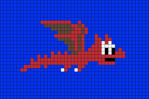 Flying Dragon Pixel Art