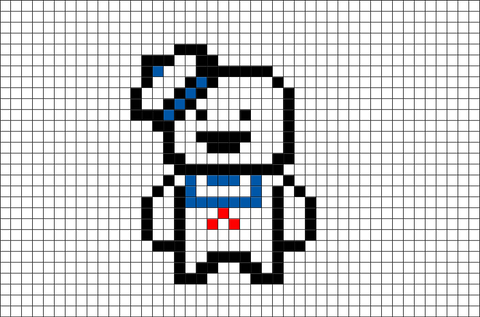Ghostbusters  Marshmallow Man Pixel Art