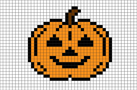 Halloween Pumpkin Pixel Art