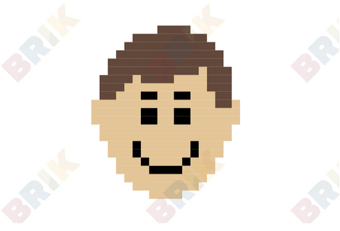 Happy Boy Face Pixel Art