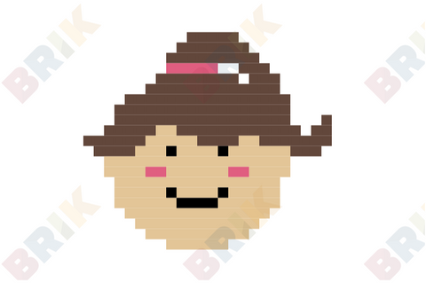 Happy Girl Face Pixel Art