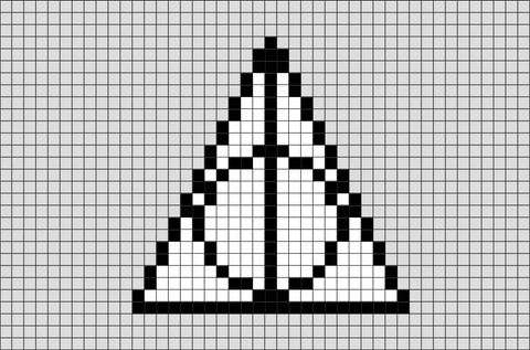 Harry Potter Sign of the Deathly Hallows Pixel Art