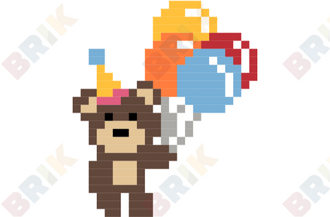 Have a Party with Your Bear Day Pixel Art