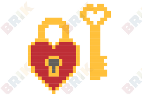 Heart Lock and Key Pixel Art