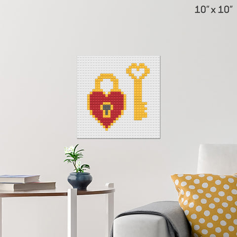 Heart Lock and Key Brick Poster