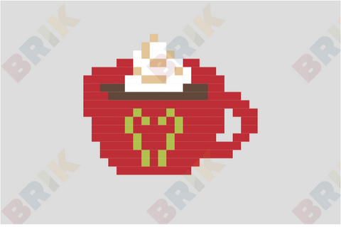 Hot Choco with Whip Cream Pixel Art