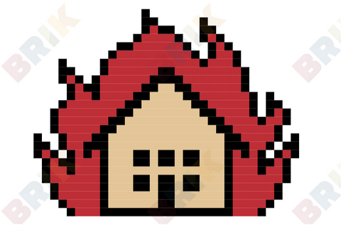 House on Fire Pixel Art