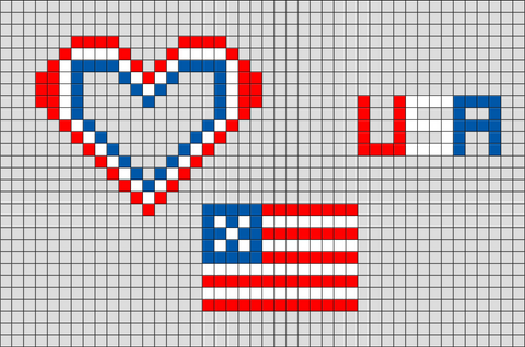 I Love USA Pixel Art