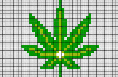 Marijuana Leaf Pixel Art