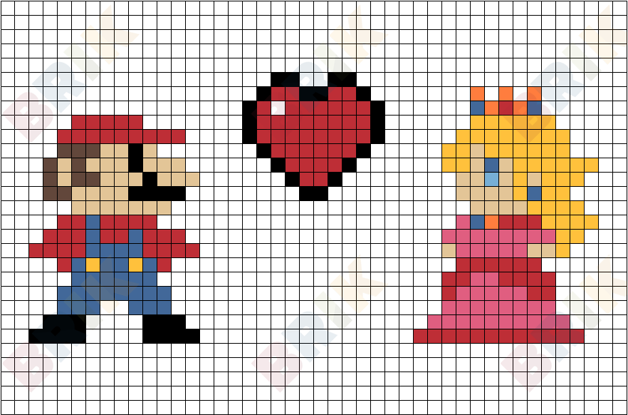 mario and princess pixel art brik. Black Bedroom Furniture Sets. Home Design Ideas