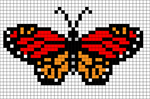 Monarch Butterfly Pixel Art