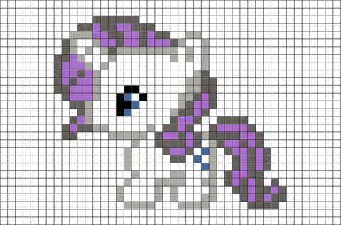 My Little Pony Rarity Pixel Art